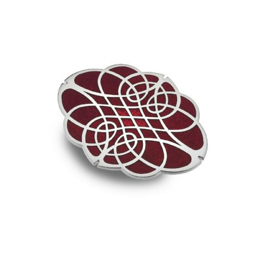 Celtic Oval Knot Brooch Red Silver Plated Brand New Gift Packaging